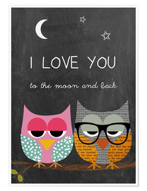 Plakat Owls - I love you to the moon and back