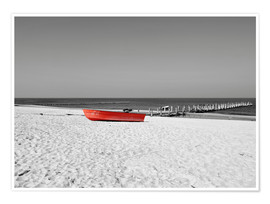 Plakat Red boat on the beach
