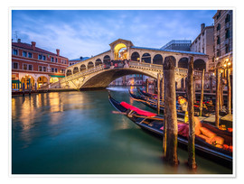 Plakat Rialto Bridge in Venice Italy at night