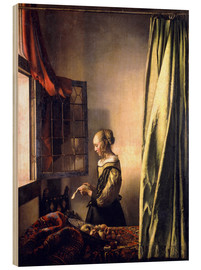 Obraz na drewnie  Girl reading a letter at an open window - Jan Vermeer