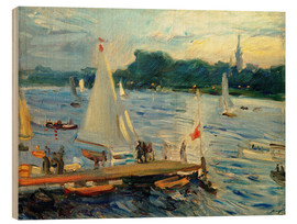 Obraz na drewnie  Sailboats on the Alster Lake in the evening - Max Slevogt
