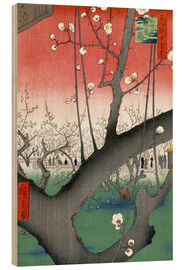 Obraz na drewnie  The Plum Tree Teahouse at Kameido - Utagawa Hiroshige