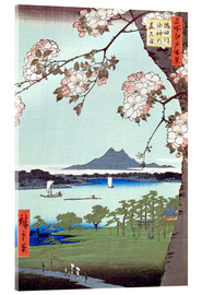 Obraz na szkle akrylowym  Masaki and the Suijin Grove by the Sumida River - Utagawa Hiroshige