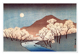 Plakat River landscape with rising moon