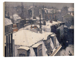 Obraz na drewnie  Rooftops in the snow - Gustave Caillebotte