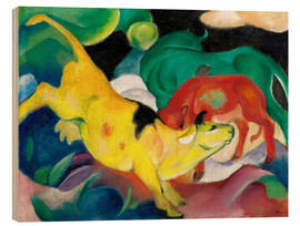 Obraz na drewnie  Cows - yellow, red, green - Franz Marc