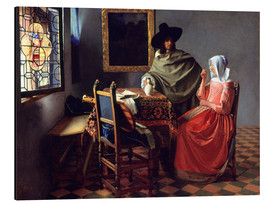 Obraz na aluminium  Lord and lady at the wine - Jan Vermeer