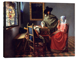 Obraz na płótnie  Lord and lady at the wine - Jan Vermeer
