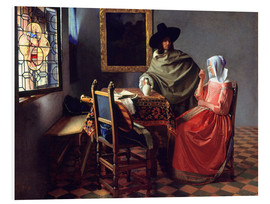 Obraz na PCV  Lord and lady at the wine - Jan Vermeer
