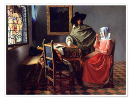 Plakat  Lord and lady at the wine - Jan Vermeer