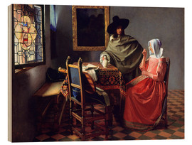 Obraz na drewnie  Lord and lady at the wine - Jan Vermeer