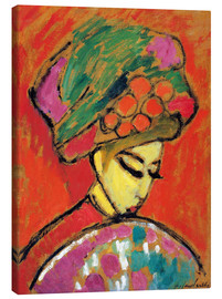 Obraz na płótnie  Young Girl in a Flowered Hat - Alexej von Jawlensky