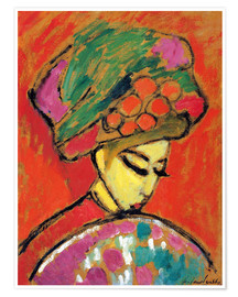 Plakat  Young Girl in a Flowered Hat - Alexej von Jawlensky