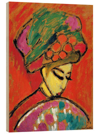 Obraz na drewnie  Young Girl in a Flowered Hat - Alexej von Jawlensky