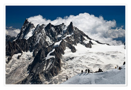 Plakat  Mont Blanc Massif and mountaineer, France - Frauke Scholz