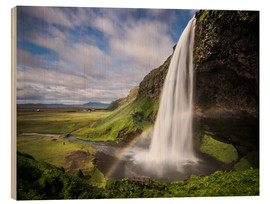 Obraz na drewnie  Sejalandsfoss Waterfall with Rainbow - Andreas Wonisch
