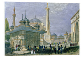 Obraz na PCV  Fountain and Square of St. Sophia, Istanbul - William Henry Bartlett