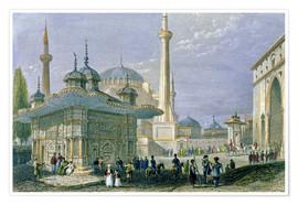 Plakat  Fountain and Square of St. Sophia, Istanbul - William Henry Bartlett