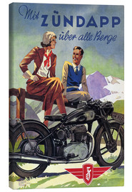 Obraz na płótnie  With Zündapp over the hills (German) - Advertising Collection