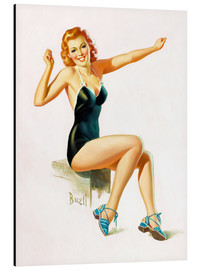 Obraz na aluminium  Pin Up - Seated Redhead in Swimsuit - Al Buell