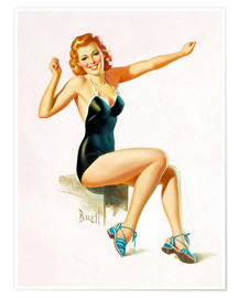 Plakat  Pin Up - Seated Redhead in Swimsuit - Al Buell