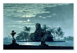 Plakat Garden scene with the Sphinx in the moonlight
