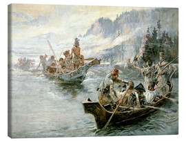 Obraz na płótnie  Lewis & Clark on the lower Columbia River, 1905 - Charles Marion Russell
