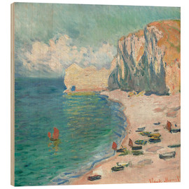 Obraz na drewnie  Cliff at Etretat - Claude Monet