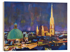 Obraz na drewnie  Vienna Skyline at Night with St Stephan - M. Bleichner