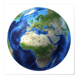 Plakat Africa and Europe on 3D Earth