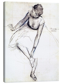Obraz na płótnie  Dancer adjusting her shoe - Edgar Degas
