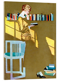 Obraz na szkle akrylowym  Reading in front of the bookshelf - Clarence Coles Phillips