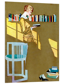 Obraz na PCV  Reading in front of the bookshelf - Clarence Coles Phillips