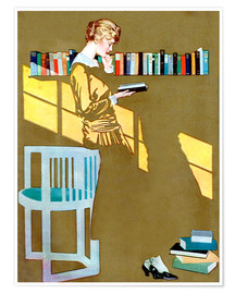Plakat  Reading in front of the bookshelf - Clarence Coles Phillips