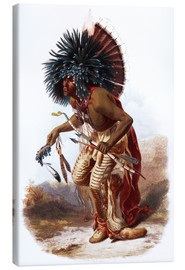 Obraz na płótnie  Indians with blue feathered headdress - Karl Bodmer