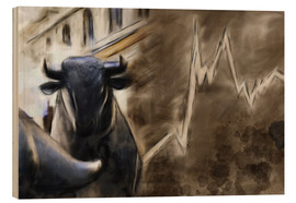 Obraz na drewnie  Bull in front of Frankfurt Stock Exchange - Michael artefacti
