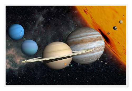 Plakat Planets and moons