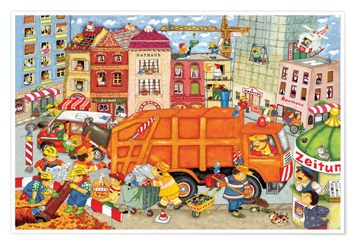 Plakat The garbage truck comes
