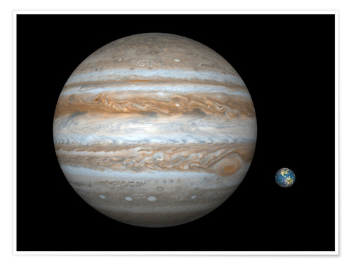 Plakat gas giant Jupiter and Earth
