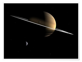 Plakat Saturn and its moons Dione and Tethys
