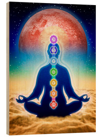Obraz na drewnie  In meditation with chakras - red moon edition - Dirk Czarnota