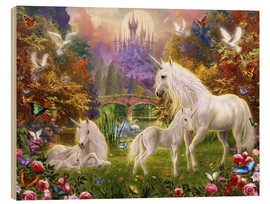 Obraz na drewnie  The castle unicorns - Jan Patrik Krasny