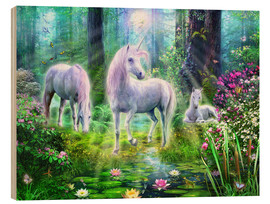 Obraz na drewnie  Forest unicorn family - Jan Patrik Krasny