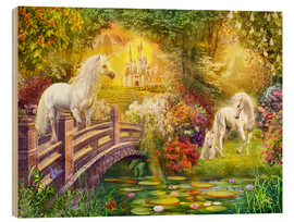 Obraz na drewnie  Enchanted garden unicorns - Jan Patrik Krasny