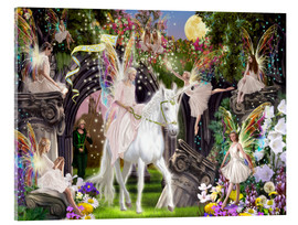 Obraz na szkle akrylowym  Fairy Queen with unicorn - Garry Walton
