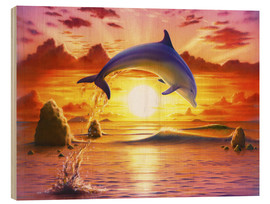 Obraz na drewnie  Day of the dolphin - sunset - Robin Koni