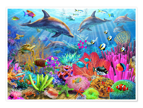 Plakat Dolphin coral reef