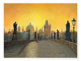 Plakat Misty Dawn, Charles Bridge, Prague