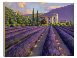 Obraz na drewnie  Lavender field with Abbey - Jay Hurst