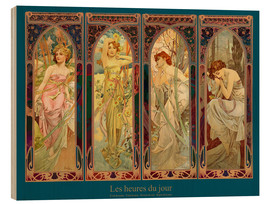Obraz na drewnie  Les heures du jour, nuit collage (French) - Alfons Mucha